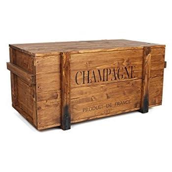 Uncle Joe di stile vintage shabby chic champagne sul petto, legno, marrone chiaro, medio, 85 x 45 x 46 cm