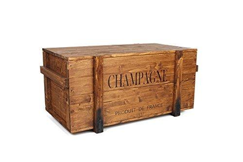 Zio Joe´s - Cassapanca in legno color marrone chiaro in stile vintage shabby chic taglia M, noce
