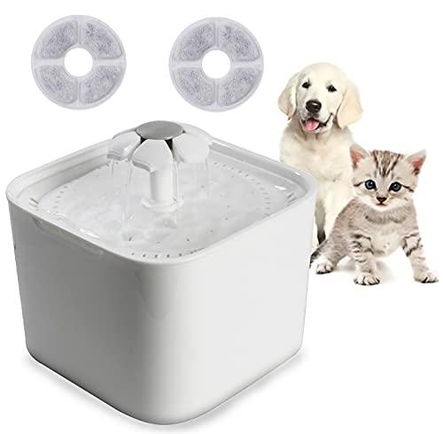 Bebedero para Gatos / Perros, Fuente Automática de Agua Continua para Mascotas de 2L de Capacidad para Perros Incluye 2 Filtros Silenciosa