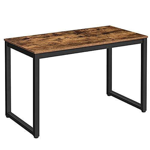 HOOBRO Schreibtisch, Computertisch im Industrie-Design, Bürotisch, Gaming Tisch Arbeitstisch für Büro, stabiles Metallgestell, leicht zu montieren, Dunkelbraun-Schwarz EBF58DN01