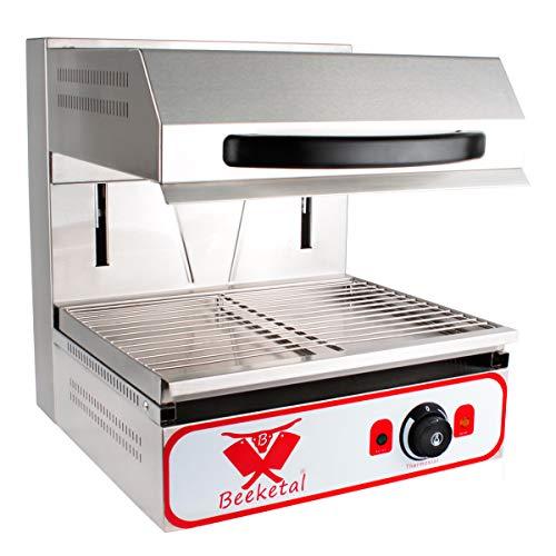 Beeketal 'BWB-2' Profi Lift Salamander Grill Überbackgerät aus Edelstahl mit Temperatureinstellung (30-290 °C), Heizelement höhenverstellbar bis max. ca. 210 mm, inkl. Gitterrost und Krümelfach