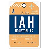 The Oliver Gal Artist Co. Cities and Skylines Wall Art Canvas Prints 'Houston Luggage Tag' Home Décor, 16' x 24', Orange, Blue