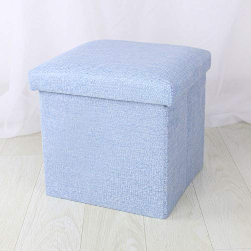 FLYFASH Foot Rest Stool Seat, Fabric Storage Stool, Storage Stool Can Sit Adult Folding Storage Box Sofa Change Shoe Bench (Color : Blue)