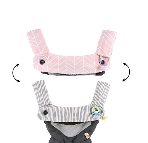 Premium Drool and Teething Reversible Cotton Pad   Fits Ergobaby Four Position 360 + Most Baby Carrier   Pink Herringbone Design   Hypoallergenic   Great Baby Girl Shower Gift by Mila Millie