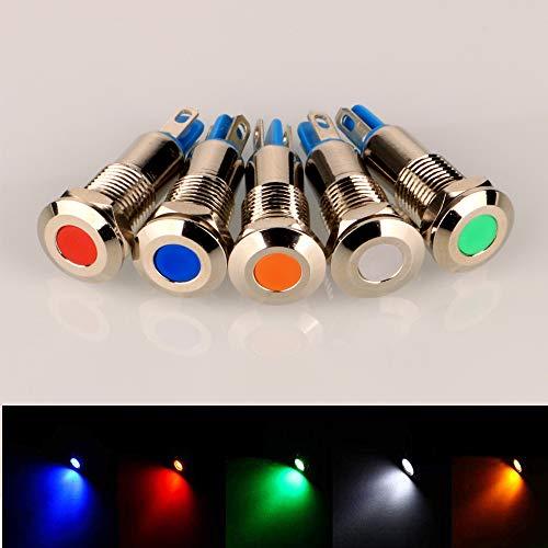 Gebildet 5pcs 8mm 12V-24V Acero Inoxidable Impermeable Luz Indicadora LED para el Coche Barco Camión Van