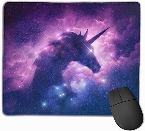Mouse Pad Galaxy Unicorn Purple Nebula Customized, Premium Rectangle Mouse Mat, Non-Slip Rubber Base Gaming Mousepad for Laptop, Computer & PC
