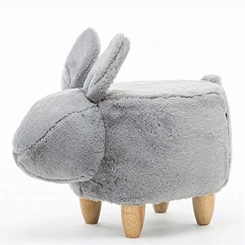 CFJJOAT Kaninchen geformte Plüsch Hocker Ottoman, Tier aus Holz einfarbig Stoff Hocker Fußstütze Stuhl Kinder Hocker24,8 x 12,9 x 14,1 Zoll