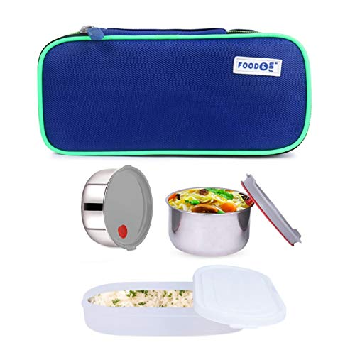 FOOD&FUN Airtight Silicon Valve Double Decker Stainless Steel Insulated Lunch Box Set for Office Men, Women, School Kids with Bag Cover | Air Tight (3 Container) by Web Bazaar