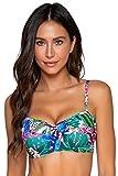 Sunsets Women's Iconic Twist Bra Sized Bandeau Bikini Top Swimsuit, Island Safari, 40E/38F/36G
