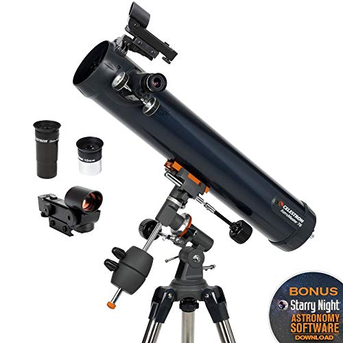Celestron - AstroMaster 76EQ Newtonian Telescope - Reflector Telescope for Beginners - Fully-Coated Glass Optics - Adjustable-Height Tripod - BONUS Astronomy Software Package