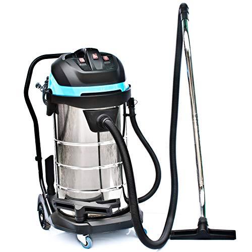 Industriestaubsauger 100 Liter Edelstahl / 3400 Watt/Schlauch: 5 Meter/Polsterdüse/Nasssauger nass Trockensauger Nassstaubsauger ohne beutel waschsauger Mehrzwecksauger
