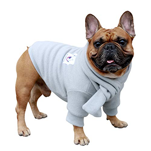iChoue Pet Dog Knitted Sweater with Matching Scarf Knitwear Winter Warm Clothes Cold Weather Coat for French Bulldog Frenchie Shiba Inu - Grey/M