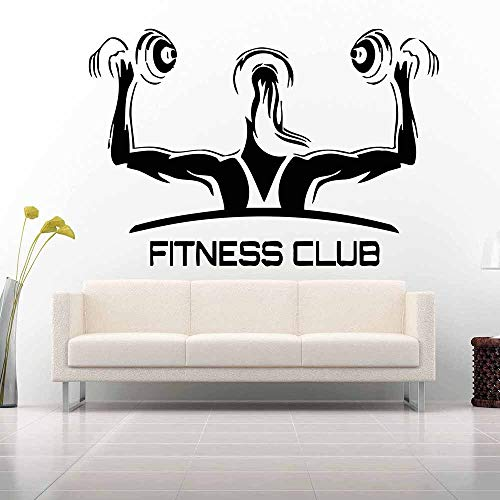 Pegatinas de pared de moda Fitness Club Training Deportes Barbell Workout Fitness Vinyl | Pegatinas de vinilo de fondo de baño
