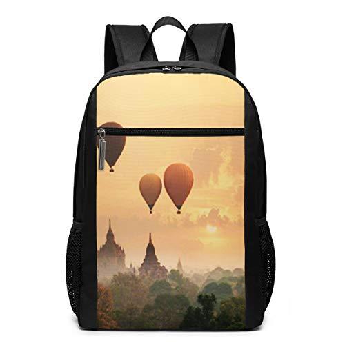 Schulrucksack Myanmar Sunrise Morning Time Ballon, Schultaschen Teenager Rucksack Schultasche Schulrucksäcke Backpack für Damen Herren Junge Mädchen 15,6 Zoll Notebook