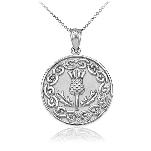 Irish Jewelry Sterling Silver Scottish Thistle Flower Medallion Pendant Necklace (18)