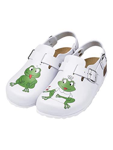CLINIC DRESS - Damen-Clog Weiß Frosch-Druck weiß, Motiv Frosch 36