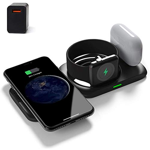 Cargador inalámbrico 4 en 1, estación de carga para Apple Watch 6/5/4/3/2 / Airpods Pro / 2, almohadilla de carga inalámbrica rápida para iPhone 12 / Pro / Pro Max / Mini / 11/11 Pro Max / 8 Plus
