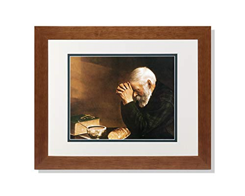 Art Prints Inc Daily Bread Man Praying at Table Grace Religious A/G Matted Picture Honey Framed
