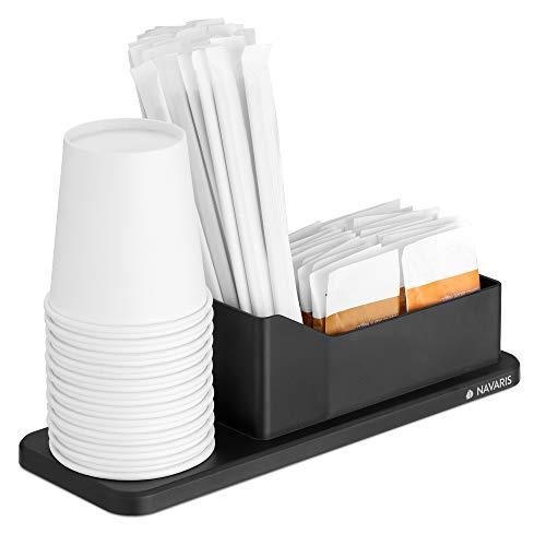 Navaris Estación de café y té - Organizador con portavasos y Bandeja para Accesorios - Espacio para azucarero servilletero Vasos - Cocina y Oficina
