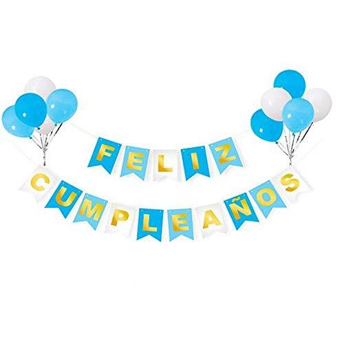 Unishop Guirnalda de Banderines de Feliz Cumpleaños con Globos Multicolor, Decoración de Color Azul, Fiesta de Cumpleaños de Colores