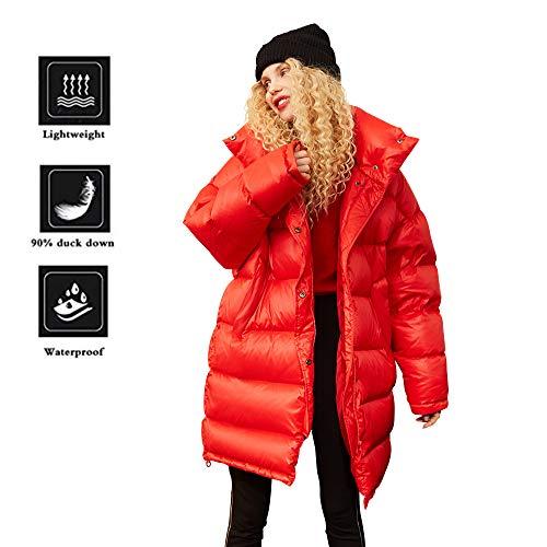 Elf Sack Donna Cappotto Invernale Warm 90% White Duck Down Cappotto Trapuntato Lungo Piumino Rosso M