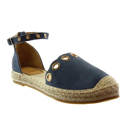 Angkorly - Damen Schuhe Espadrilles Sandalen - knöchelriemen - Perforiert - golden - Seil Blockabsatz 2 cm - Blau LX170 T 38