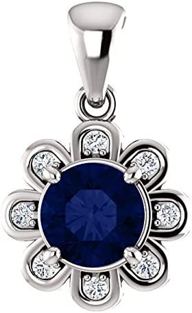 Cheap mail order specialty store 14K White Gold Chathamreg Created Blue 8 Diamo 5 popular Sapphire CTW 1