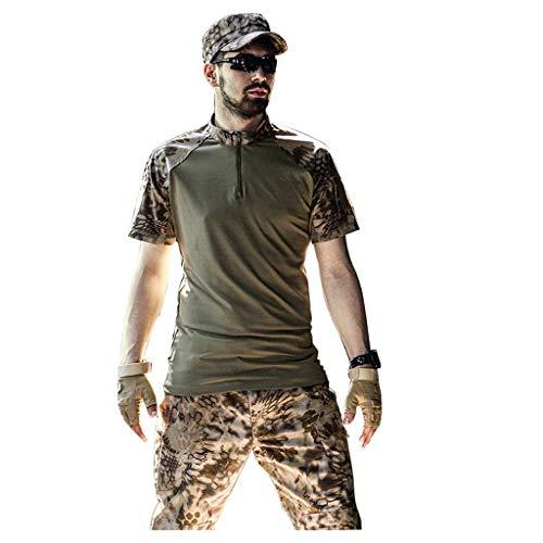 ZPWSNH woestijn Camouflage Pop Casual pak zomer korte mouw Camouflage broek Jungle verborgen jacht sport bergbeklimmen jacht pak (Maat: M-L)