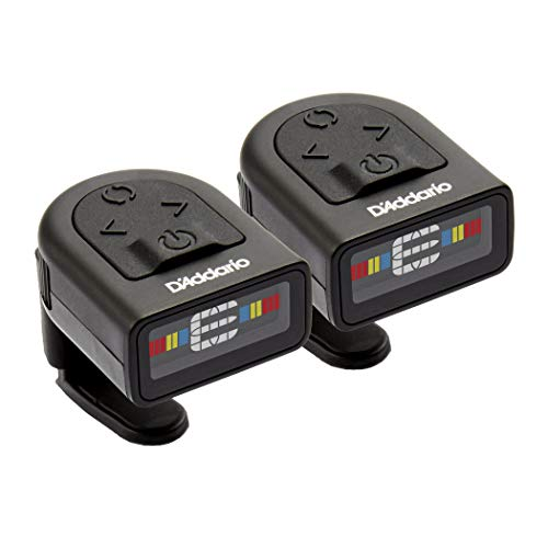 D'Addario NS Micro Clip-On Tuner, 2-Pack– Highly Precise, Easy to Read, Clip-On Tuner for Guitar, Mandolin, Bass and More with a Compact Low-Profile Design