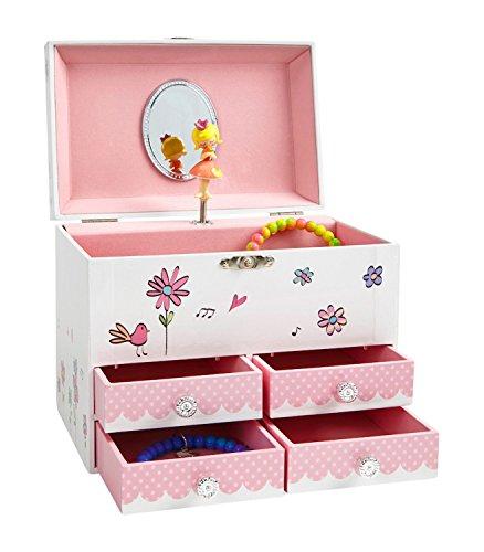 Jewelkeeper - Vögel und Blumen Großes Spieluhr Schmuckkästchen mit 4 Ausziehfächern, Schmuckkästchen für Mädchen - Blumenwalzer Melodie