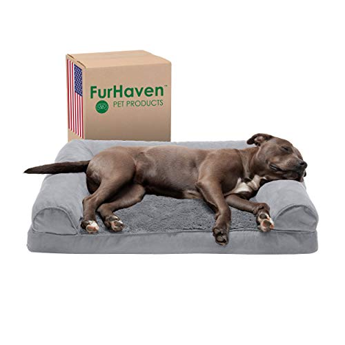 Furhaven Pet Dog Bed - Orthopedic Ultra Plush Faux Fur and Suede Traditional Sofa-Style Living Room...