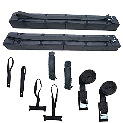 """Alfa Gear Universal Folding Lightweight Anti-Vibration Roof Rack pad for Kayak/Canoe/Surfboard/Paddle Board/SUP/Snow Board and Water Sports with Hood Loop and Truck Straps Products Size 36"""" Long"""