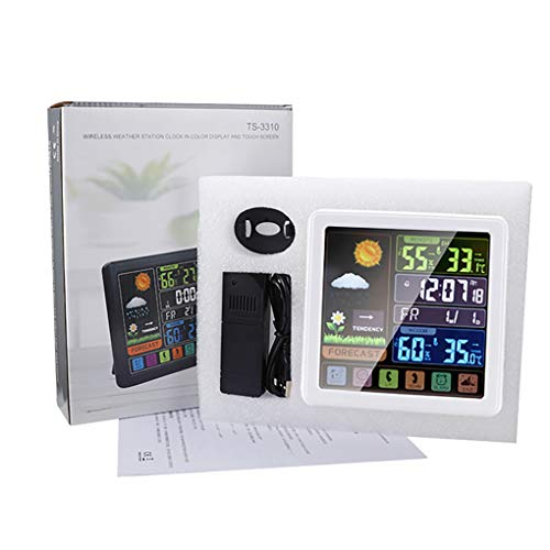 rongweiwang Wetterstation Uhr Eelctric Digital Touch Uhr Touch-Wetterstation Sensing-Temperatur-Feuchtigkeits-Thermometer-Hygrometer