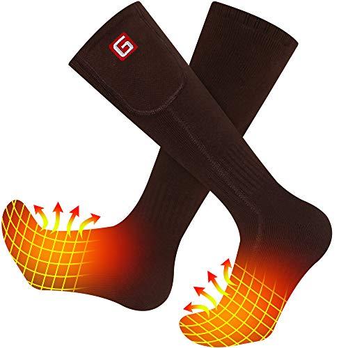 Heated Socks Rechargeable Heating Socks for Men Women Electric Battery Hiking Socks M (Brown)