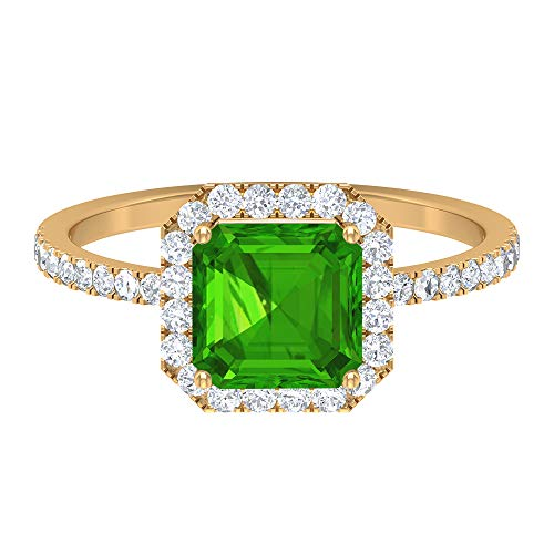 Rosec Jewels 14 quilates Oro amarillo rund brillant Asscher verde Moissanite Creado en laboratorio de Tsavorit