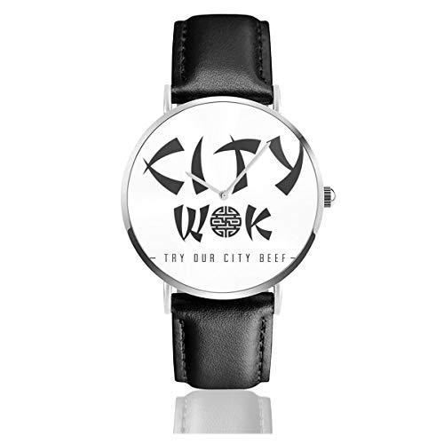 Unisex Business Casual South Park City Wok Uhren Quarzuhr Lederarmband schwarz für Männer Frauen Young Collection Geschenk