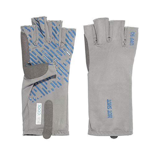 HOT SHOT Men's Fingerless Fishing Sun Gloves UPF 50, Gray, Medium