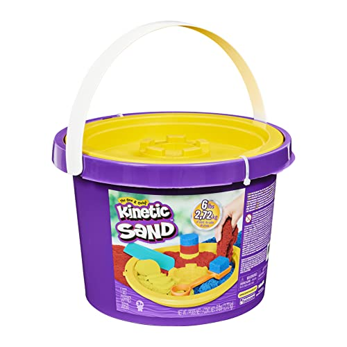Kinetic Sand, 6lbs Bucket with 3 Colors of Sand and 3 Tools for Endless Creative Play, for Kids Aged 3 and up