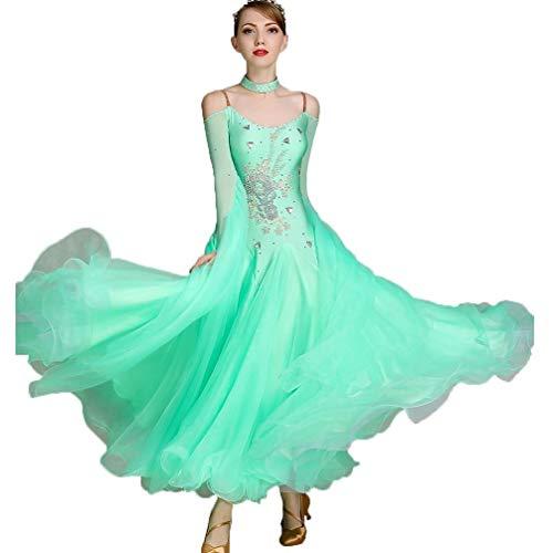 Vals De Las Mujeres Baile De Saln Vestido De Alto Rendimiento Manga Larga, Trajes Modernos De Baile Gran Columpio Tango Rhinestone Disfraz (Color : Light green, Size : 2XL)