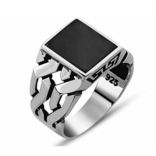 Chimoda Turkish Handmade Jewelry Black Onyx Stone 925 Sterling Silver Men's Ring (7.5)