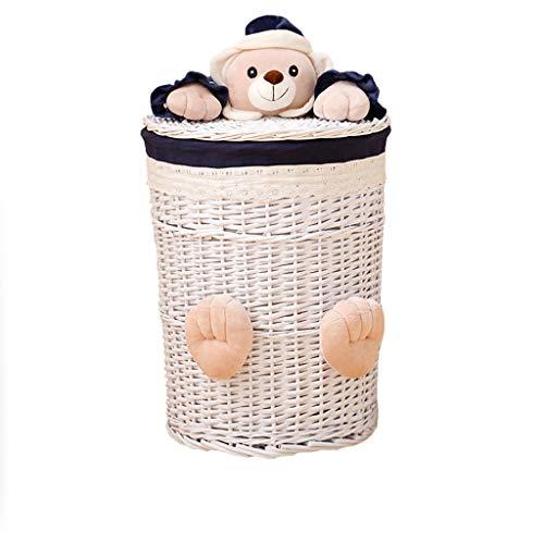 Jixi geweven rieten manden Ronde Wasserij Hamper Sorter Opslagrand met Bear Head Deksel Kleine grote wasmand voor kleding panier