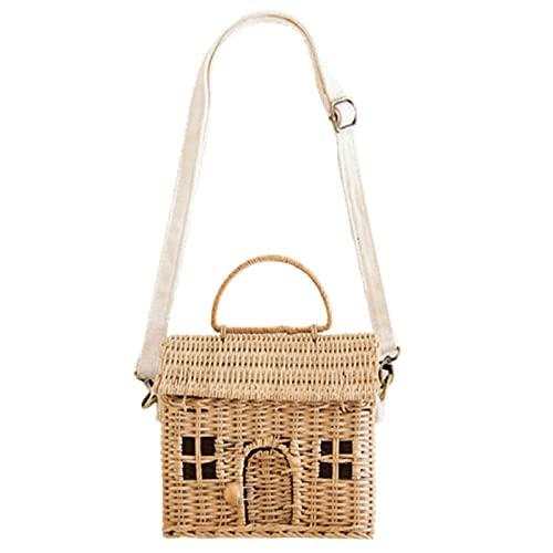 Bolso de mano de ratán hecho a mano a la moda, bolso de hombro para niños, forma de casa, el mejor regalo para niñas, bandolera