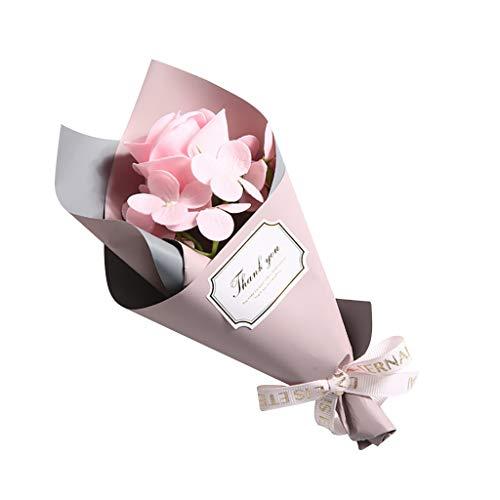 FBGood Pequeño Ramo de Cilindro, decoración de Paisaje de jabón, Flor de jabón, Ramo de Rosa perfumado con Caja Rosa Artificial, Regalo para el día de la Madre, San Valentín, Boda