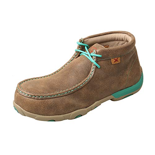 Twisted X Chukka Bomber/Turquoise Womens Leather Work Boots AT Driving Moc 10M
