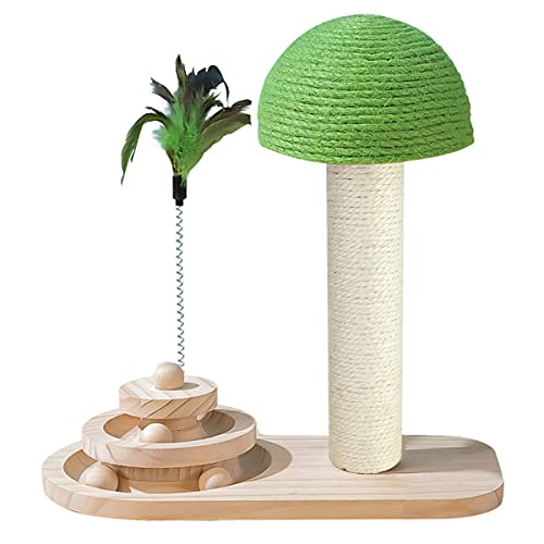 ANKUYER 3 in 1 Cat Scratching Post Mushroom Claw Cat Tower with Scratching Post for Kitty& Cat,Hemp Ball Solid Wood Turntable Durable,Natural Sisal Cat Scratchers for Indoor Cats Interactive Toys