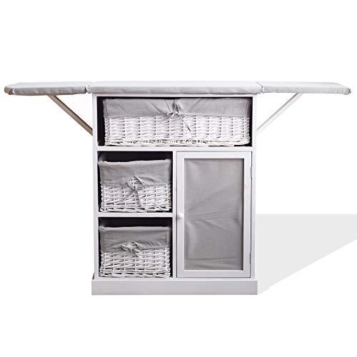 Rebecca Mobili Mueble para Coser, Tabla de Planchar, Ahorra Espacio, Estilo Shabby, Gris Blanco, lavaderos Cocina- Medidas: 84 x 137 x 35 cm (AxANxF) - Art. RE6066