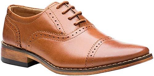 Paisley of London, Chaussures de mariage en cuir marron ou noir, pour garçon, pointure 39 - Beige - peau, 30 EU