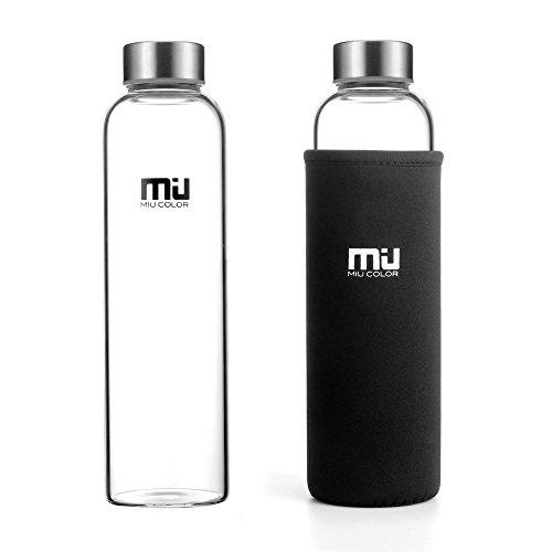 MIU COLOR 水筒 ボトル ガラス水筒 550 ml ホウケイ酸ガラス カバー付き 運動や会社各場所用(ブラック)