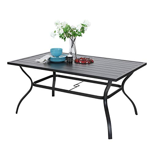 PHIVILLA 152 * 95cm Garden Table for 6 Person Rust Proof Steel Frame and Parasol Hole Outdoor Furniture Garden Dining Table Maintenance Free Black (Black)