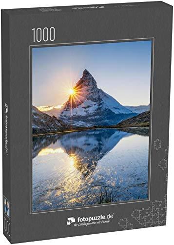 Puzzle 1000 Teile Riffelsee und Matterhorn in der Schweiz, Kanton Wallis, Schweiz - Klassische Puzzle, 1000/200/2000 Teile, in edler Motiv-Schachtel, Fotopuzzle-Kollektion 'Schweiz'